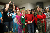 """NWA Democrat-Gazette/CHARLIE KAIJO Cheryl Daniel and her 4th grade class reacts as Mayor Greg Hines (not pictured) """"dabs"""", Friday, March 2, 2018 at Bellview Elementary School in Rogers.<br /><br />Bellview Elementary School celebrated Read Across America with some special guest readers"""