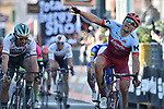Marcel Kittel (GER) Team Katusha Alpecin outsprints World Champion Peter Sagan (SVK) Bora-Hansgrohe to win Stage 6 of the 53rd edition of the Tirreno-Adriatico 2018 running 153km from Numana to Fano, Italy. 12th March 2018.<br /> Picture: LaPresse/Fabio Ferrari | Cyclefile<br /> <br /> <br /> All photos usage must carry mandatory copyright credit (&copy; Cyclefile | LaPresse/Fabio Ferrari)