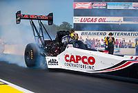 Aug 18, 2019; Brainerd, MN, USA; NHRA top fuel driver Steve Torrence during the Lucas Oil Nationals at Brainerd International Raceway. Mandatory Credit: Mark J. Rebilas-USA TODAY Sports