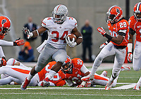 Ohio State Buckeyes running back Carlos Hyde (34) runs to score his second touchdown in the fourth quarter of their game against the Fighting Illini at Memorial Stadium in Champaign, Ill on November 16, 2013. (Columbus Dispatch photo by Brooke LaValley)