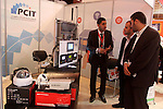 Palestinians attend Expotech IT exhibition, in Gaza city on November 11, 2014. Expotech is an annual exhibition that expose the potential of ICT Sector in Palestine to global industries trends and provide new information about the hottest niche areas. Photo by Mohammed Asad