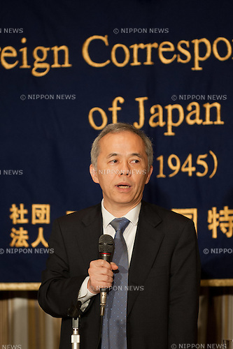 July 19, 2012 : Tokyo, Japan - Naomi Hirose, President of Tokyo Electric Power Co., Inc. (TEPCO), speaks during a news conference at the Foreign Correspondents' Club of Japan in Tokyo. One of his top missions is to restart the Kashiwazaki Kariwa nuclear power complex, the world's largest nuclear power complex in Shizuoka Prefecture. Hirose believes the resumption of the Kashiwazaki plant is key to the revival of TEPCO and Japan. (Photo by Yumeto Yamazaki/AFLO)
