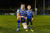 Luke Charteris of Bath Rugby poses for a photo with the matchday mascot. Premiership Rugby Cup match, between Bath Rugby and Gloucester Rugby on February 3, 2019 at the Recreation Ground in Bath, England. Photo by: Patrick Khachfe / Onside Images