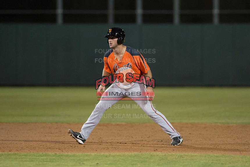 AZL Giants Orange designated hitter Joey Bart (9) takes a lead off second base during an Arizona League game against the AZL Athletics at Lew Wolff Training Complex on June 25, 2018 in Mesa, Arizona. AZL Giants Orange defeated the AZL Athletics 7-5. (Zachary Lucy/Four Seam Images)