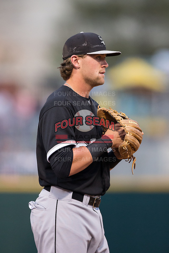 Chicago White Sox third baseman Trey Michalczewski (99) on defense against the Charlotte Knights at BB&T Ballpark on April 3, 2015 in Charlotte, North Carolina.  The Knights defeated the White Sox 10-2.  (Brian Westerholt/Four Seam Images)