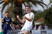 Team Wellington's Angus Kilkolly celebrates scoring the second goal during the 2018 OFC Champions League semifinal between Auckland City FC and Team Wellington at Kiwitea St in Auckland, New Zealand on Sunday, 29 April 2018. Photo: Dave Lintott / lintottphoto.co.nz