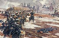 La bataille de Saint-Denis , le 23 novembre 1837 <br /> .<br /> <br /> La bataille de Saint-Denis est un combat livré le 23 novembre 1837 lors de la rébellion du Bas-Canada de 1837-1838. Elle opposa les 800 Patriotes du docteur Wolfred Nelson aux 300 Britanniques de Sir Charles Gore et prit fin avec la défaite de ces derniers