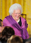 """Former first lady Barbara Bush prepares to take her seat prior to United States President Barack Obama and first lady Michelle Obama honoring recipients of the 2010 Medal of Freedom, """"the Nation's highest civilian honor presented to individuals who have made especially meritorious contributions to the security or national interests of the United States, to world peace, or to cultural or other significant public or private endeavors"""", in a ceremony in the East Room of the White House in Washington, D.C. on Tuesday, February 15, 2011..Credit: Ron Sachs / CNP"""