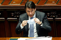 The Italian Premier Giuseppe Conte puts on and off his face mask during the Question time at the Chamber of Deputies. Rome (Italy), July 1st 2020<br /> Foto Samantha Zucchi Insidefoto