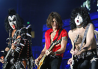 12/18/03 Inglewood, CA:  Aerosmith's Joe Perry performs a song with KISS