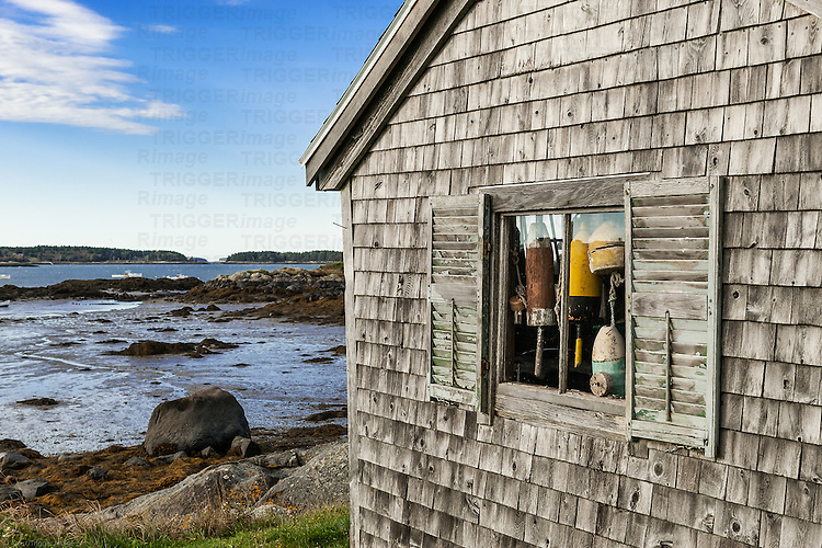 Rustic fishing shack, Maine, USA