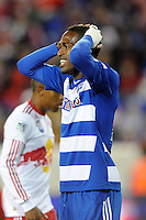 Atiba Harris (16) of FC Dallas reacts to a missed scoring opportunity. The New York Red Bulls defeated FC Dallas 2-1 during a Major League Soccer (MLS) match at Red Bull Arena in Harrison, NJ, on April 17, 2010.
