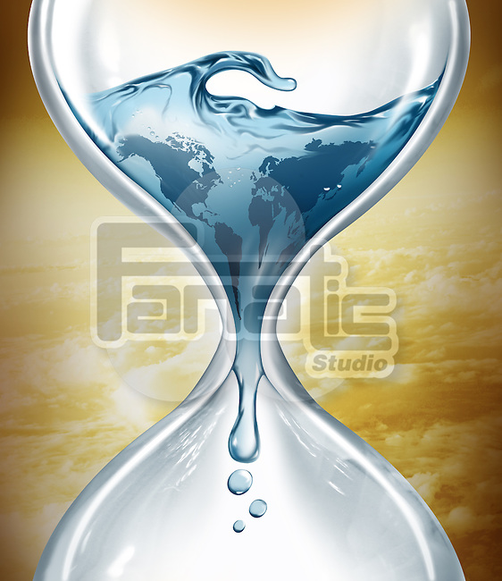 Illustrative image of water in hourglass representing water depletion