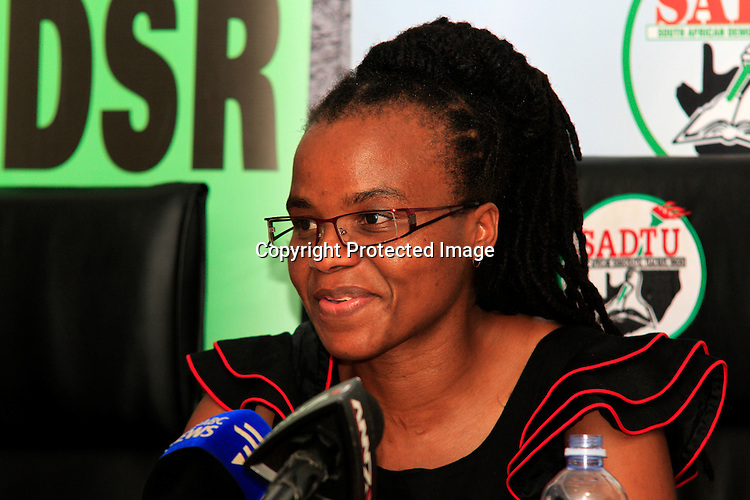 DURBAN - 28 December 2015 - Nomarashiya Caluza, the provincial secretary of the South African Democratic Teachers Union speaks at a press conference in Durban, claiming that the country's largest education department in the province of KwaZulu-Natal has failed to pay salary increases to teachers who teach Grade R pupils -- the first year of schooling. She also claimed that several hundred markers had not been paid for marking the final school leaving exam papers of those pupils finishing school at he end of 2015. Picture: Allied Picture Press/APP