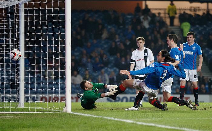 Bilel Mohsni scores his second goal of the night past Ayr Utd keeper David Hutton