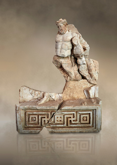 Roman Sebasteion relief  sculpture of Herakles or Hercules Drunk Aphrodisias Museum, Aphrodisias, Turkey.  Against an art background.<br /> <br /> Herakles or Hercules staggers along drunk, supported by a small satyr from the entourage of Dionysus. He is wearing the head ribbon of a drinking party, where he has been in a drinking contest with Dionysus. The wine god has conquered even the mighty hero of the Twelve Labours.