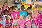 PYJAMS: Pyjams day for the children at the crech in Cumann Iosafe, Tralee on Friday with their mentors the pyjams day was for Make a Wish Foundation. Children, Jane Mthethwa, Abigal O'Brien, Femi Klillcams, Hollie Leane, Cashla Mullens, Bosola O Bajemu, Zoe O'Carroll, Play leaders Niamh Casey and Marina Holden. Marina Holden...