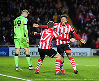 Lincoln City's Kellan Gordon celebrates scoring his side's second goal with Shay McCartan, right<br /> <br /> Photographer Andrew Vaughan/CameraSport<br /> <br /> The EFL Sky Bet League Two - Lincoln City v Forest Green Rovers - Saturday 3rd November 2018 - Sincil Bank - Lincoln<br /> <br /> World Copyright © 2018 CameraSport. All rights reserved. 43 Linden Ave. Countesthorpe. Leicester. England. LE8 5PG - Tel: +44 (0) 116 277 4147 - admin@camerasport.com - www.camerasport.com