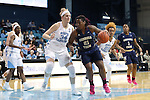 16 February 2017: Georgia Tech's Zaire O'Neil (21) and North Carolina's Naomi Van Nes (34). The University of North Carolina Tar Heels hosted the Ramblin' Wreck from Georgia Tech University at Carmichael Arena in Chapel Hill, North Carolina in a 2016-17 NCAA Division I Women's Basketball game. North Carolina won the game 89-88.