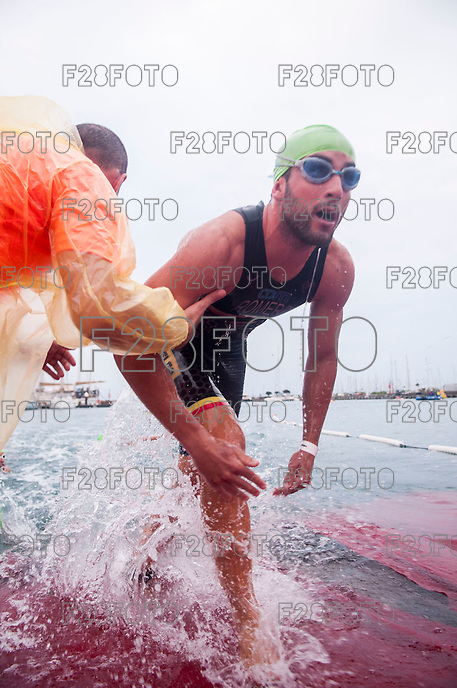 VALENCIA, SPAIN - SEPTEMBER 6: Athlete during Valencia Triathlon 2015 at port of Valencia on September 6, 2015 in Valencia, Spain