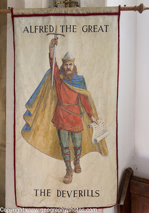 King Alfred the Great banner, Village parish church of Saint Mary, Kingston Deverill, Somerset, England, UK