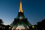 The Eiffel Tower in Paris by night