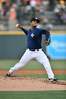 Starting pitcher Merandy Gonzalez (38) of the Columbia Fireflies delivers a pitch in a game against  the West Virginia Power on Thursday, May 18, 2017, at Spirit Communications Park in Columbia, South Carolina. Columbia won in 10 innings, 3-2. (Tom Priddy/Four Seam Images)