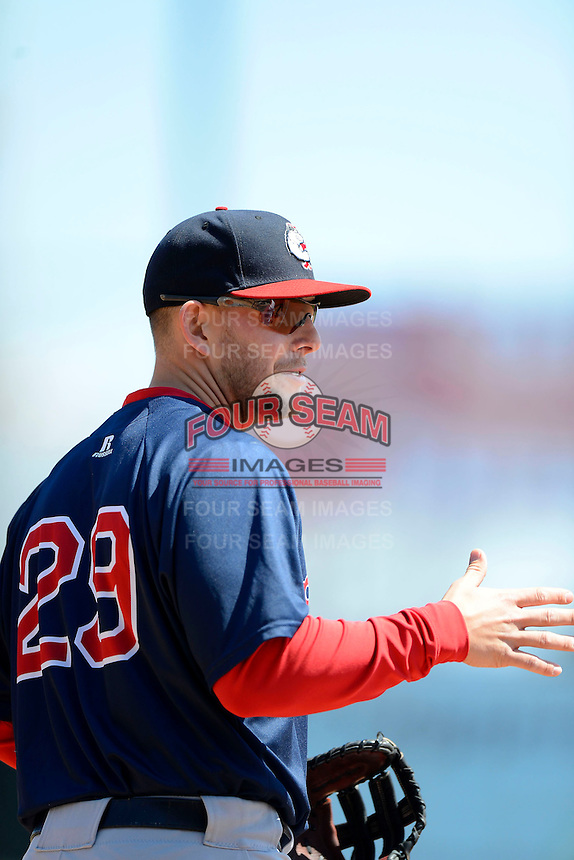 Pawtucket Red Sox first baseman Brandon Snyder #29 during the first game of a doubleheader against the Buffalo Bisons on April 25, 2013 at Coca-Cola Field in Buffalo, New York.  Pawtucket defeated Buffalo 8-3.  (Mike Janes/Four Seam Images)