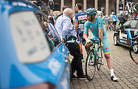 Lieuwe Westra (NED/Astana) chatting to former DS DS Hilaire Van der Schueren before teh start of the Brussels Cycling Classic 2016