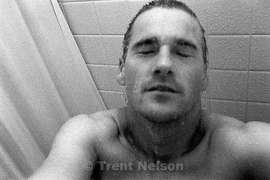 Trent Nelson in shower<br />