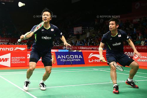 Kenichi Hayakawa & Hiroyuki Endo (JPN), AUGUST 12, 2015 - Badminton : TOTAL BWF World Championships 2015 Men's Doubles 2nd round match at Istora Senayan Arena, Jakarta, Indonesia. (Photo by Shingo Ito/AFLO SPORT)