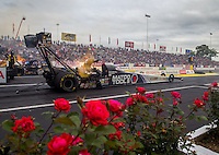Jun 5, 2015; Englishtown, NJ, USA; NHRA top fuel driver Antron Brown during qualifying for the Summernationals at Old Bridge Township Raceway Park. Mandatory Credit: Mark J. Rebilas-