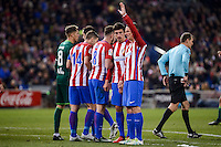 "Atletico de Madrid's Gabriel ""Gabi"" Fernández, Saúl Ñígez, Sime Vrsaljko and Fernando Torres during La Liga match between Atletico de Madrid and Real Betis at Vicente Calderon Stadium in Madrid, Spain. January 14, 2017. (ALTERPHOTOS/BorjaB.Hojas) /NORTEPHOTO.COM"