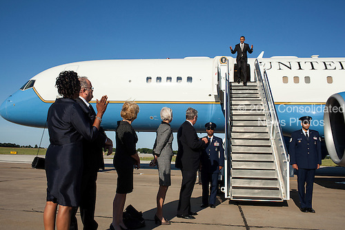 President Barack Obama disembarks Air Force One upon his arrival at Joplin Regional Airport in Joplin, Missouri, May 21, 2012. .Mandatory Credit: Pete Souza - White House via CNP