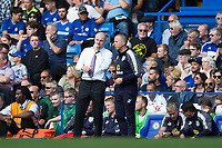 Burnley manager Sean Dyche talks with Assistant Manager Ian Woan during the match<br /> <br /> Photographer Craig Mercer/CameraSport<br /> <br /> The Premier League - Chelsea v Burnley - Saturday August 12th 2017 - Stamford Bridge - London<br /> <br /> World Copyright &copy; 2017 CameraSport. All rights reserved. 43 Linden Ave. Countesthorpe. Leicester. England. LE8 5PG - Tel: +44 (0) 116 277 4147 - admin@camerasport.com - www.camerasport.com
