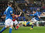 St Johnstone v Ross County....29.11.14   Scottish Cup 4th Round<br /> Michael O'Halloran's shot is blocked by Paul Quinn<br /> Picture by Graeme Hart.<br /> Copyright Perthshire Picture Agency<br /> Tel: 01738 623350  Mobile: 07990 594431