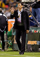 Head coaches of Chivas USA Martin Vasquez yells out directions to his players. The LA Galaxy defeated Chivas USA 2-0 during the Super Clasico at Home Depot Center stadium in Carson, California Thursday evening April 1, 2010.  .
