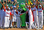 "2 July 2011: Members of a visiting Dominican Republic youth Team stand with mascot ""Champ"" prior to a game between the Vermont Lake Monsters and the Tri-City ValleyCats at Centennial Field in Burlington, Vermont. The Lake Monsters rallied from a 4-2 deficit to defeat the ValletCats 7-4 in NY Penn League action. Mandatory Credit: Ed Wolfstein Photo"