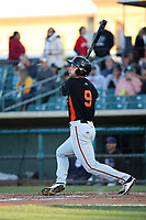 Bryan Reynolds (9) of the San Jose Giants bats against the Lancaster JetHawks at The Hanger on May 5, 2017 in Lancaster, California. San Jose defeated Lancaster, 4-2. (Larry Goren/Four Seam Images)