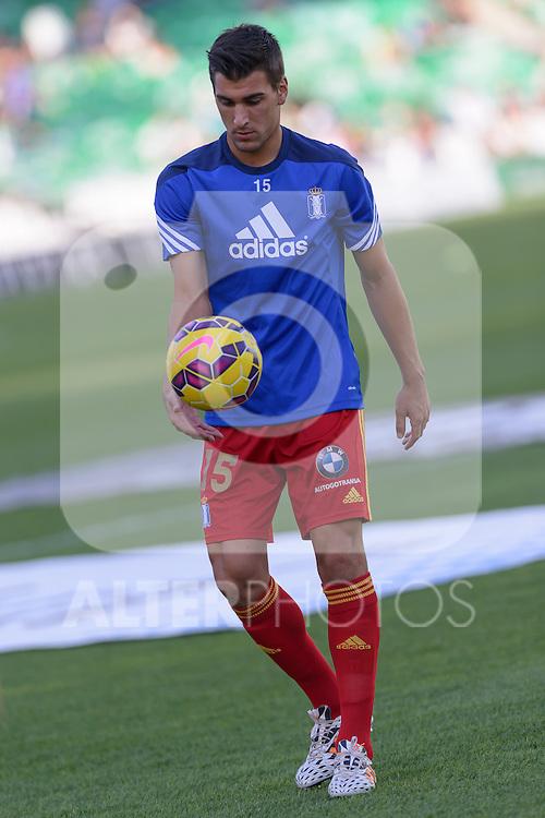 Huelva's player D. Jimenez before the  match between Real Betis and Recreativo de Huelva day 10 of the spanish Adelante League 2014-2015 014-2015 played at the Benito Villamarin stadium of Seville. (PHOTO: CARLOS BOUZA / BOUZA PRESS / ALTER PHOTOS)