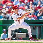 28 August 2016: Washington Nationals starting pitcher and Baseball America top prospect Lucas Giolito sets to lay down a bunt against the Colorado Rockies at Nationals Park in Washington, DC. The Rockies defeated the Nationals 5-3 to take the rubber match of their 3-game series. Mandatory Credit: Ed Wolfstein Photo *** RAW (NEF) Image File Available ***