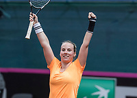 Bratislava, Slovenia, April 23, 2017,  FedCup: Slovakia-Netherlands,seccond rubber sunday,  Richel Hogenkamp scrums victory if she makes the dicicivi point for the Netherlands<br /> Photo: Tennisimages/Henk Koster