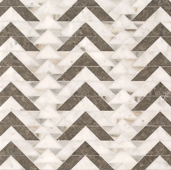 Echo, a stone waterjet mosaic, shown in honed Cashmere, Carrara, and Cavern, is part of the Miraflores collection by Paul Schatz for New Ravenna.