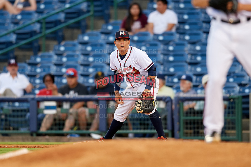 Mississippi Braves first baseman Jonathan Morales (9) during a game against the Mobile BayBears on May 7, 2018 at Trustmark park in Pearl, Mississippi.  Mobile defeated Mississippi 5-0.  (Mike Janes/Four Seam Images)