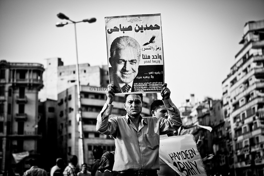 ©VIRGINIE NGUYEN HOANG/.Egypt,Cairo.2012..Thousands of protesters have taken to the streets of the Egyptian cities of Cairo and Alexandria, as well as elsewhere, to protest against the results of the country's presidential election. In Cairo, supporters of Hamdeen Sabbahi and Abouel Fottouh claimed that there were violations during the elections.