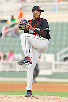 Starting pitcher Luis Noel #45 of the Delmarva Shorebirds in action against the Kannapolis Intimidators at Fieldcrest Cannon Stadium on May 20, 2011 in Kannapolis, North Carolina.   Photo by Brian Westerholt / Four Seam Images