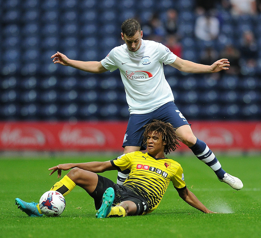 Preston North End's Marnick Vermijl battles with Watford's Sean Murray<br /> <br /> Photographer Dave Howarth/CameraSport<br /> <br /> Football - Capital One Cup Second Round - Preston North End v Watford - Tuesday 25 August 2015 - Deepdale - Preston<br />  <br /> &copy; CameraSport - 43 Linden Ave. Countesthorpe. Leicester. England. LE8 5PG - Tel: +44 (0) 116 277 4147 - admin@camerasport.com - www.camerasport.com