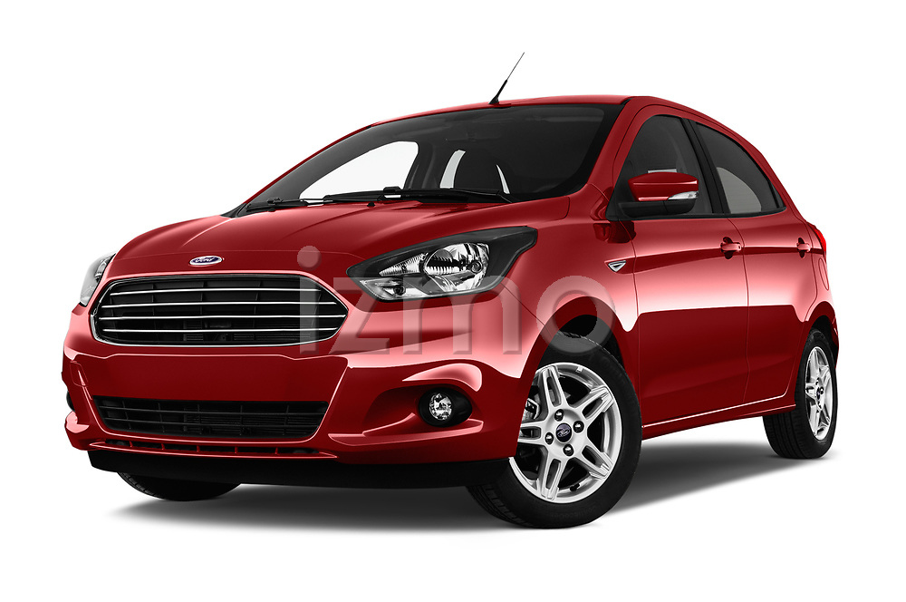 Stock pictures of low aggressive front three quarter view of 2017 Ford KA+ Ultimate 5 Door Hatchback Low Aggressive