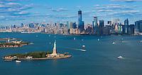 Panorama of New York: Statue of Liberty, Manhattan and Hudson river