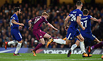 Kevin De Bruyne of Manchester City scores the opening goal of the game during the premier league match at the Stamford Bridge stadium, London. Picture date 30th September 2017. Picture credit should read: Robin Parker/Sportimage